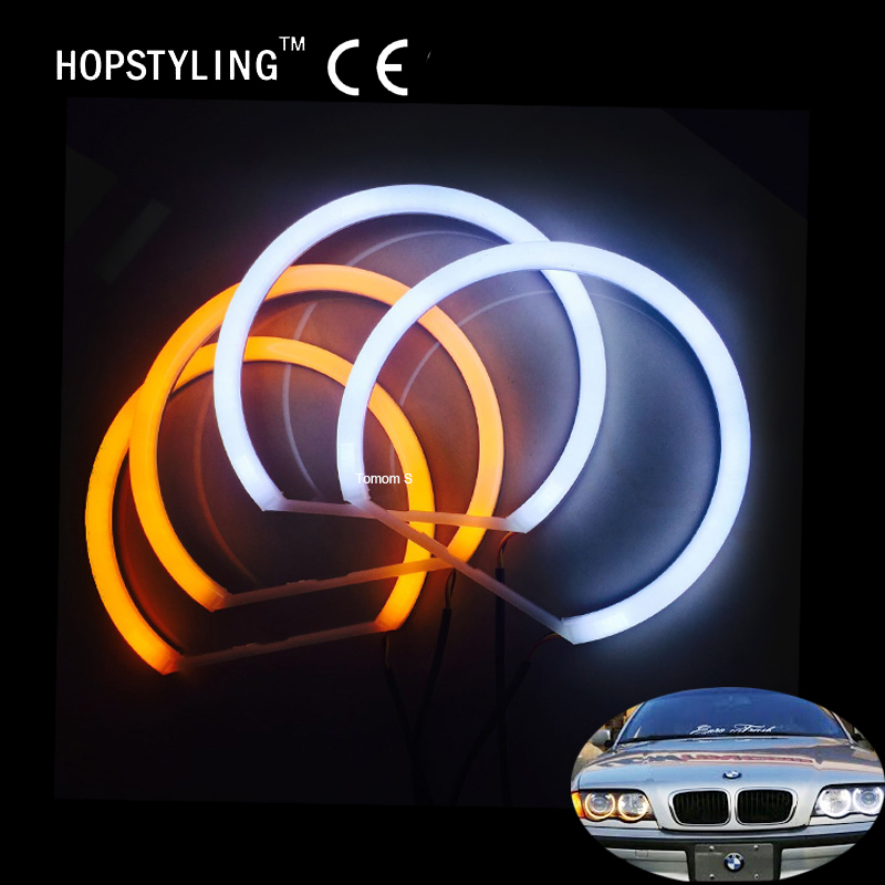 White&Amber Dual Color Cotton LED Angel Eyes Kit Halo Ring DRL Turn Signal Light For BMW E46 4Door Sedan Non Projector 1998-2006