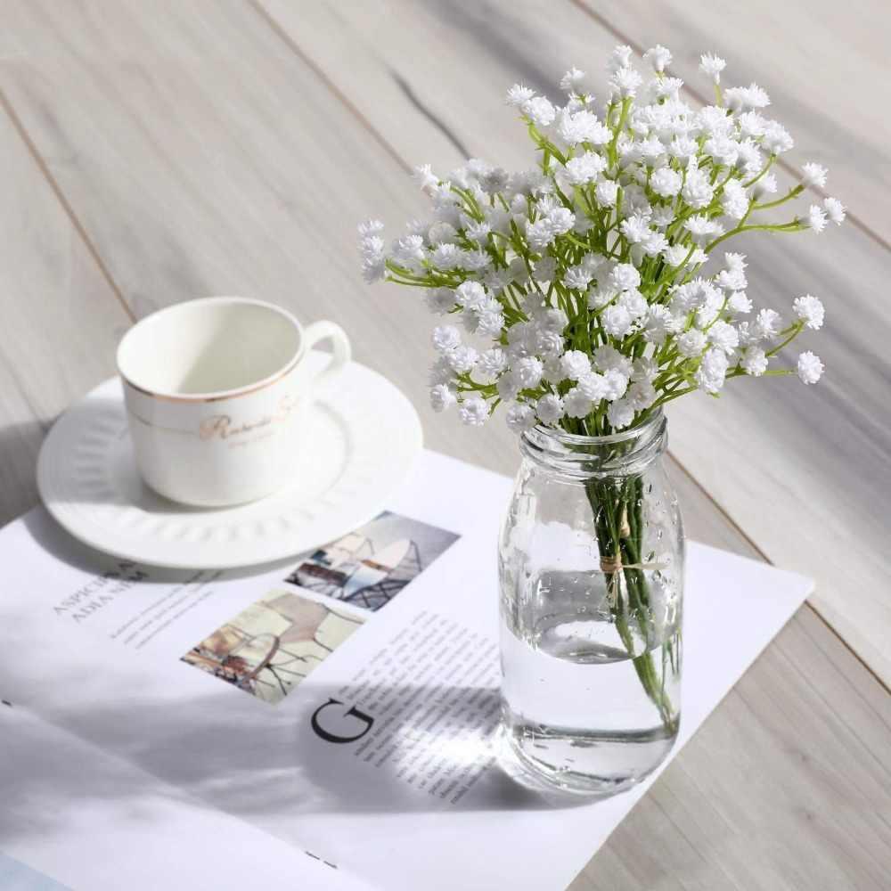 Chencheng 1 peça branco bebês respiração flores artificiais falso gypsophila diy buquês florais arranjo de casamento decoração para casa queda
