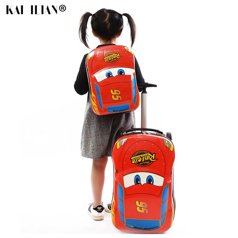 3D Kids Suitcase Car Travel Luggage On Wheels Children Cartoon Travel Trolley Suitcase For Boys Suitcase Kids Rolling Luggage