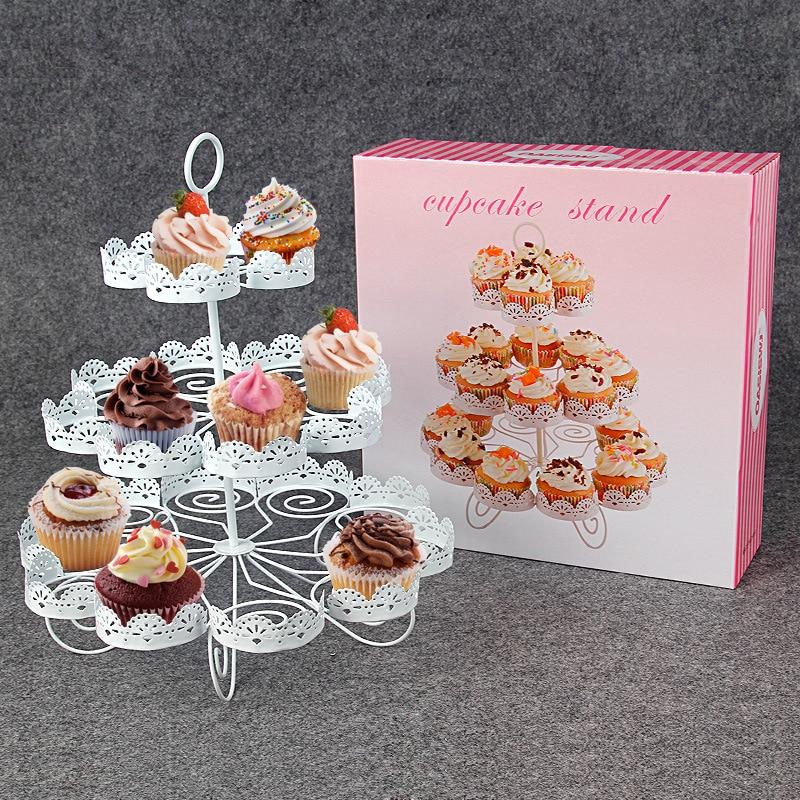 Nouveau 3-couche européenne Cupcake étagère 23 tasse côté gâteau Stand blanc métal gâteau Dessert fête Stands