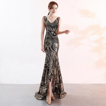 2019 Sequin Mermaid Long Evening Dresses Sexy V-neck prom gowns Formal Party dress vestido de festa Elegant Lace robe longue