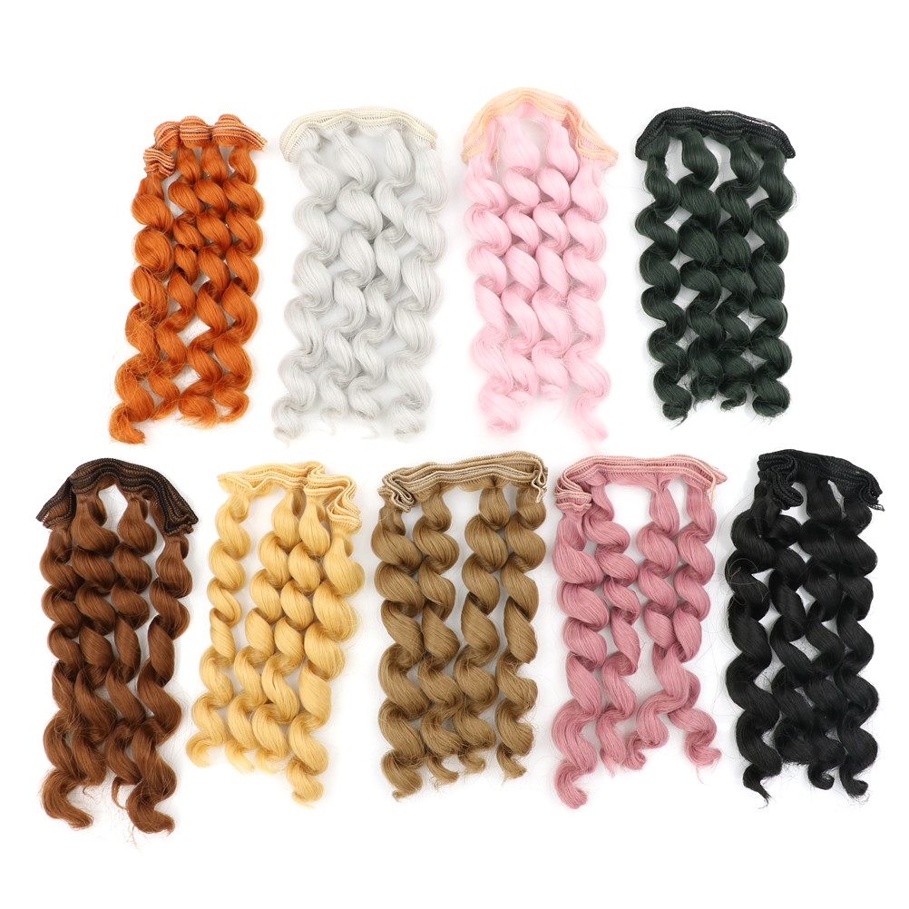 2018 15cm*100cm curly hair for dolls <font><b>1/3</b></font> 1/4 1/6 <font><b>BJD</b></font>/SD doll DIY doll <font><b>wigs</b></font> <font><b>brown</b></font> golden black khaki image