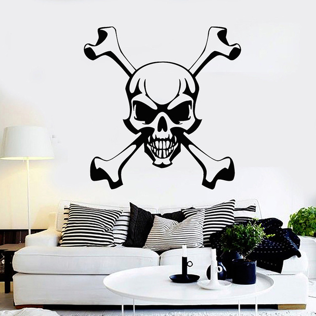 Skull And Bones Wall Decals Pirate Symbol Wall Sticker For Bar Jolly Roger  Art Mural Home