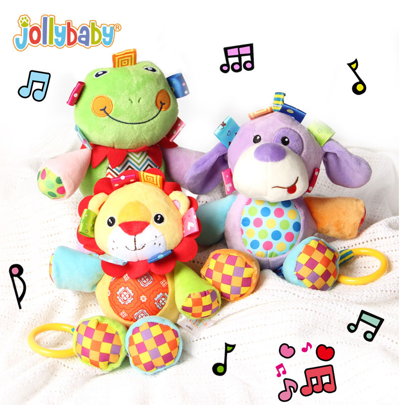 Jollybaby Cute Musical Plush Stuffed Animals Infant Baby Soft Educational Comfort Crib Hanging Toys For Newborns Children Gift