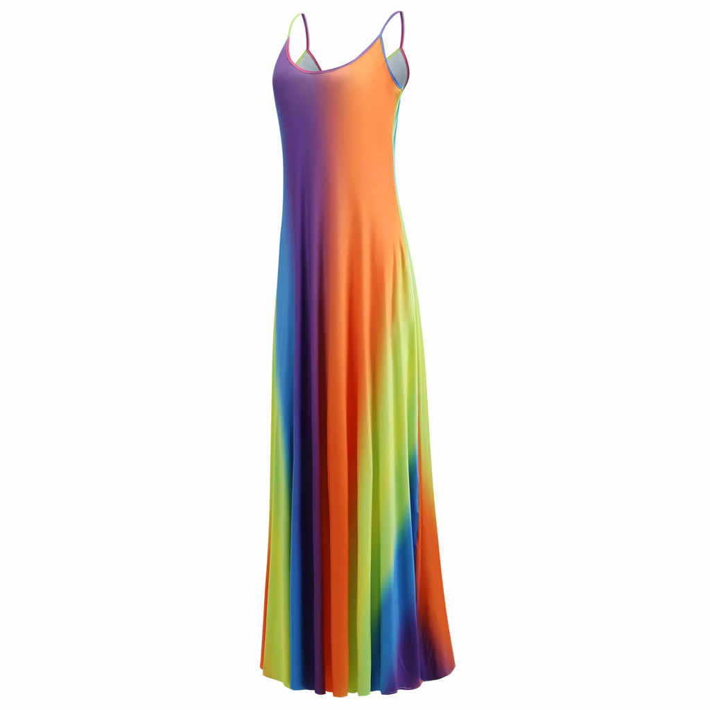 2019 женское летнее пляжное платье с градиентным принтом, шифоновое, с большим подолом, на бретельках, макси, плиссированное платье, сексуальные длинные платья