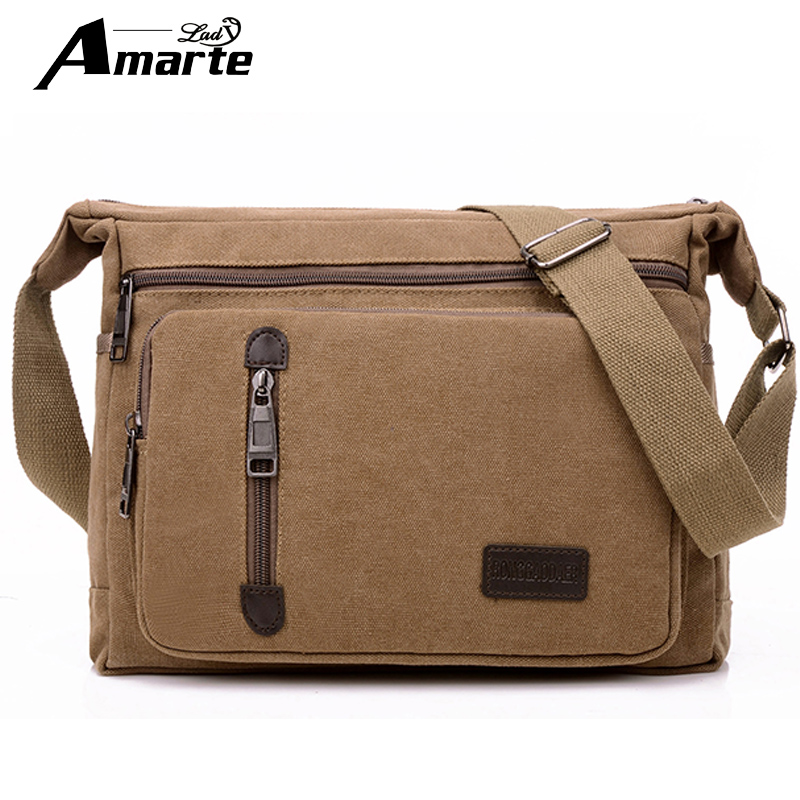 Men Bags Vinatge Canvas Messenger Bags 2017 Designer Brand Men's Fashion Crossbody Shoulder Bag Solid Male Casual Travel Bag