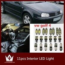 Tcart 11 шт. авто светодиодные лампы Ошибка Бесплатный белый интерьер автомобиля светодиодные Комплект чтения Крытый лампы T10 для VW гольф 4 MK4 автомобильные аксессуары