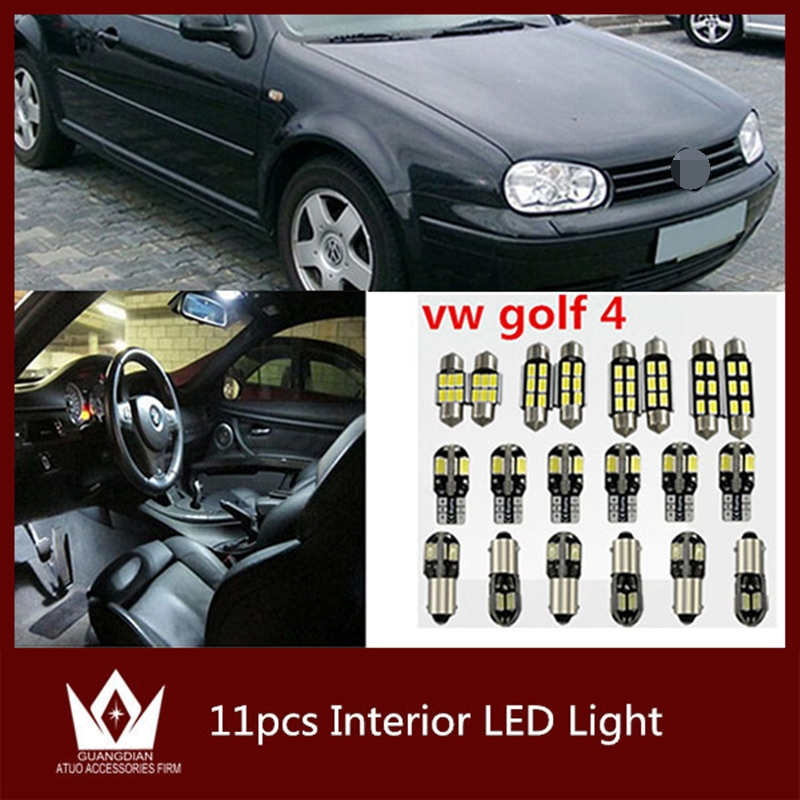Tcart 11pcs Auto LED Bulbs Error Free White Car Interior LED Light Kit Reading Indoor lamp T10 For VW golf 4 mk4 car accessories 2pcs brand new high quality superb error free 5050 smd 360 degrees led backup reverse light bulbs t15 for jeep grand cherokee