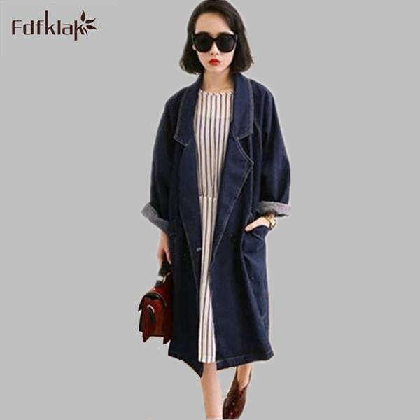 Diseño de moda 2017 nuevo denim trench coat mujeres del otoño invierno de las señoras trinchera solo pecho manga larga abrigos para mujer Q199