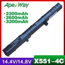 4 cells 14.8V Laptop Battery For ASUS 0B110-00250100 A41N1308 A31N1319 X451 X551 X451C X451CA X551C X551CA 2600mAh цены онлайн