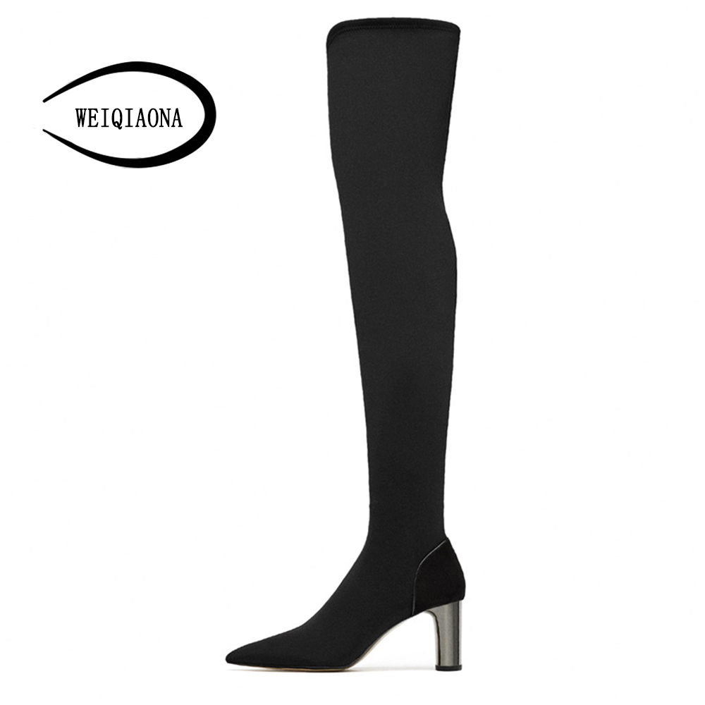 43664c9e06b WEIQIAONA2019 New Sexy Winter Warm Snow Boot Women Shoes Pointed Toe ...