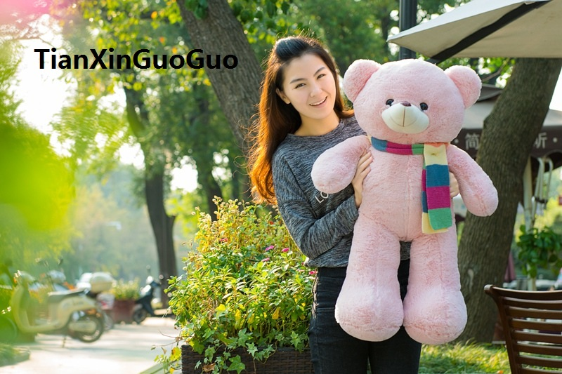 creative toy about 80cm pink teddy bear plush toy scarf bear soft doll throw pillow birthday gift w2935 new plush gentle teddy bear toy creative suit bear doll gift about 50cm