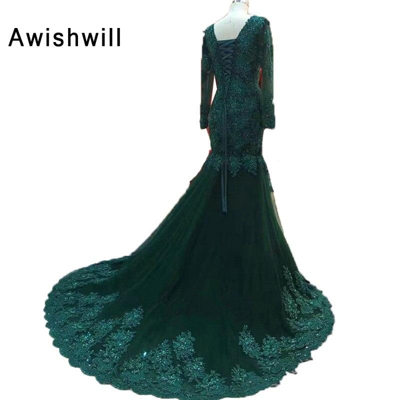 Real Pictures vert émeraude v-cou élégant femmes robe de soirée robe de soirée sirène à manches longues robes de soirée pour formelle 2019 - 5
