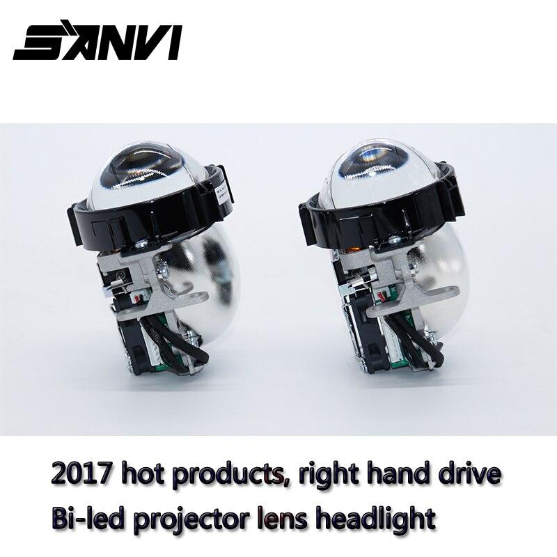 2017 SANVI Bi-LED Projector Lens Headlight 6000K 35W RHD LED Headlight Car-styling Retrofit Kit Auto Lighting Autopart led projector lens headlight with ballast 35w 5500k 3 inch projector lens led car