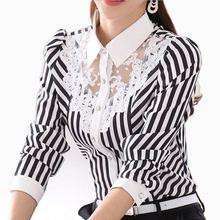 Mode Frauen Bluse Langarm Spitze Tops Striped Drehen-Unten Kragen Blusen Offizielle Weibliche Formale Hemd Frühling Herbst