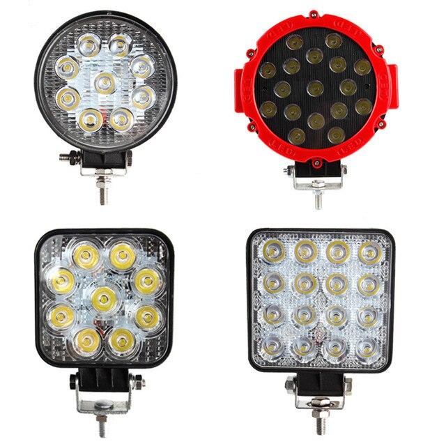 Projecteur de travail pour voiture lumière LED Bar, faisceau lumineux 12v 24v, pour tracteur tout terrain, pour Jeep ATV UAZ SUV 4WD 4x4, 27W 51W 48W