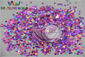 TCA901  Size 3 mm laser holographic  Peach color Glitter paillette  Heart  shape spangles for Nail Art DIY supplies1pack=50g