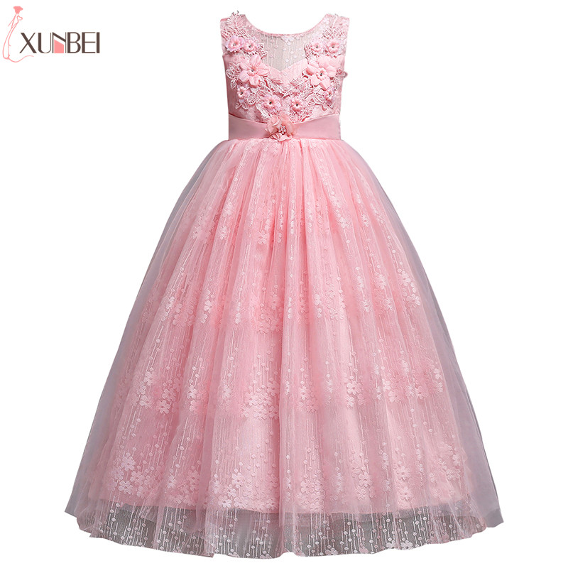 Beautiful Flower Girl Dresses Lace 2019 Appliqued Ball Gown Pageant Dresses For Girls First Communion Dresses Kids Prom Dresses