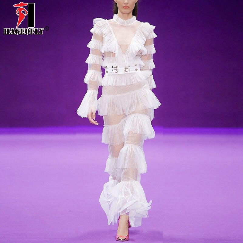 HAGEOFLY 2018 Sexy blanc robe de bal robe solide moulante dentelle maille voir à travers cascade volants étage longueur piste robe Vestidos