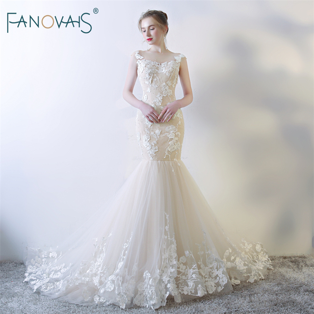 Y Champagne Wedding Dresses 2018 See Through Mermaid Gown Tulle Lace Beaded Bridal Dress