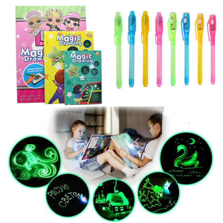 1PC A5 LED Luminous Drawing Board Graffiti Doodle Drawing Tablet Magic Draw With Light-Fun Fluorescent Pen Educational Toy