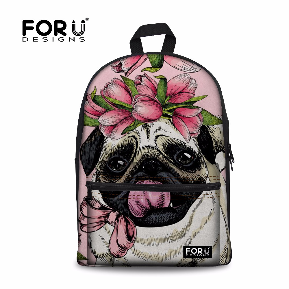 FORUDESIGNS Women Pug Printing School Backpack Bookbag for Teenager Girls Shoulder Backpacks Female Large Laptop Back Pack Bolsa