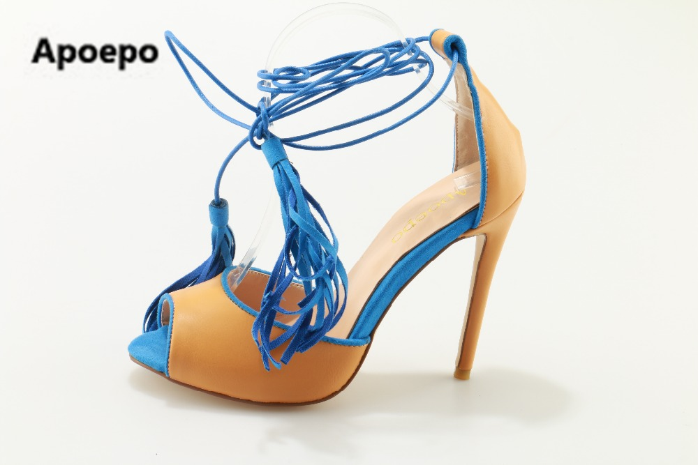 Apoepo 2017 blue yellow shoes Women sexy mixed colors women sandals ankle strap fringe sandals shoes lace up high heels sandals spikes heels and blue silver muliti colors mixed rhinestone ultra high heels wedding evening shoes with strap ankle
