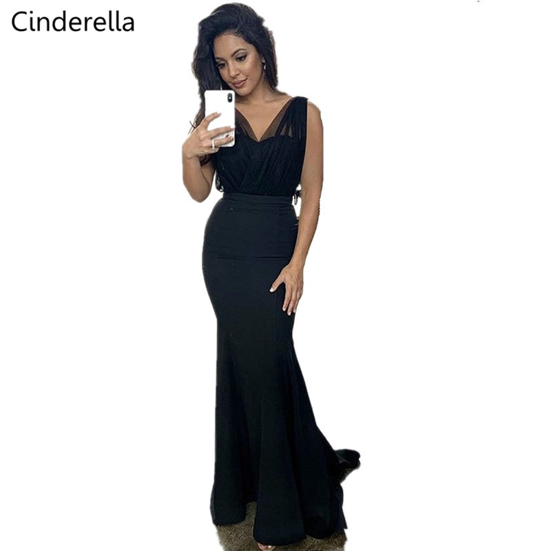 Cinderella Black V-Neck Mermaid Satin Pleated Court Train Mermaid Bridesmaid Gown Mermaid Bridesmaid Dresses Wedding Party Dress