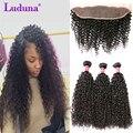 Peruano Kinky Curly Virgem Cabelo Com Encerramento Curly Weave Do Cabelo Humano Com Laço Frontal Peruano Laço Frontal Encaracolado Com Feixes