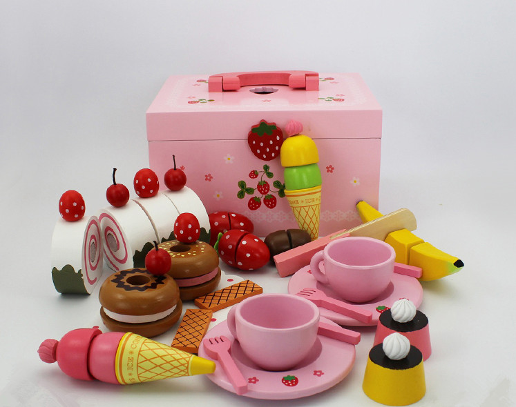 Free Shipping!Baby Toys Cute Afternoon Tea Sets Child Kitchen Toys Set Wooden Toys Gift kitchen simulation toys for children cake decorating wooden toys afternoon tea set birthday cake baby toysgift