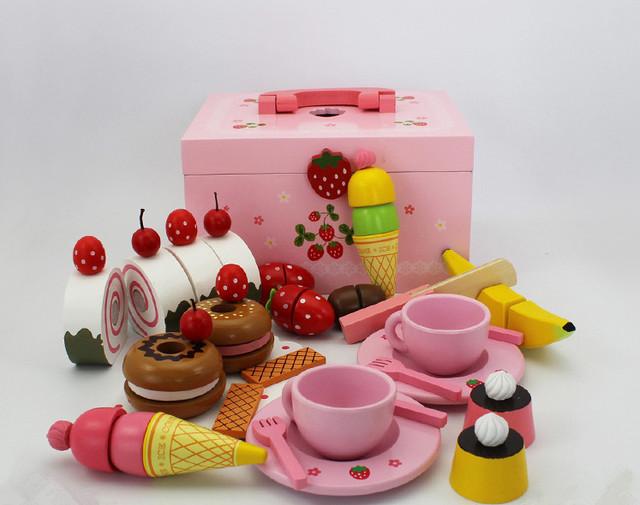 Baby Toys Cute Afternoon Tea Sets Child Kitchen Toys Set Wooden Toys Gift