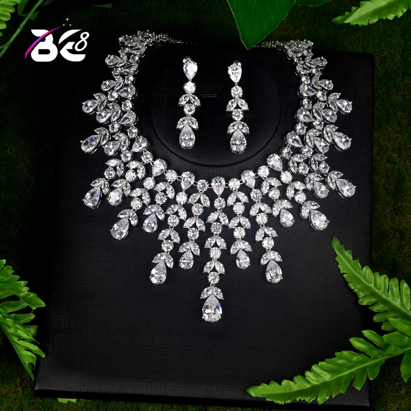 Be 8 High Quality Big Water Drop Design Women Bridal Jewelry Set White Rhinestone Necklace Set for Female Gifts S085 stunning rhinestone water drop floral layered necklace for women
