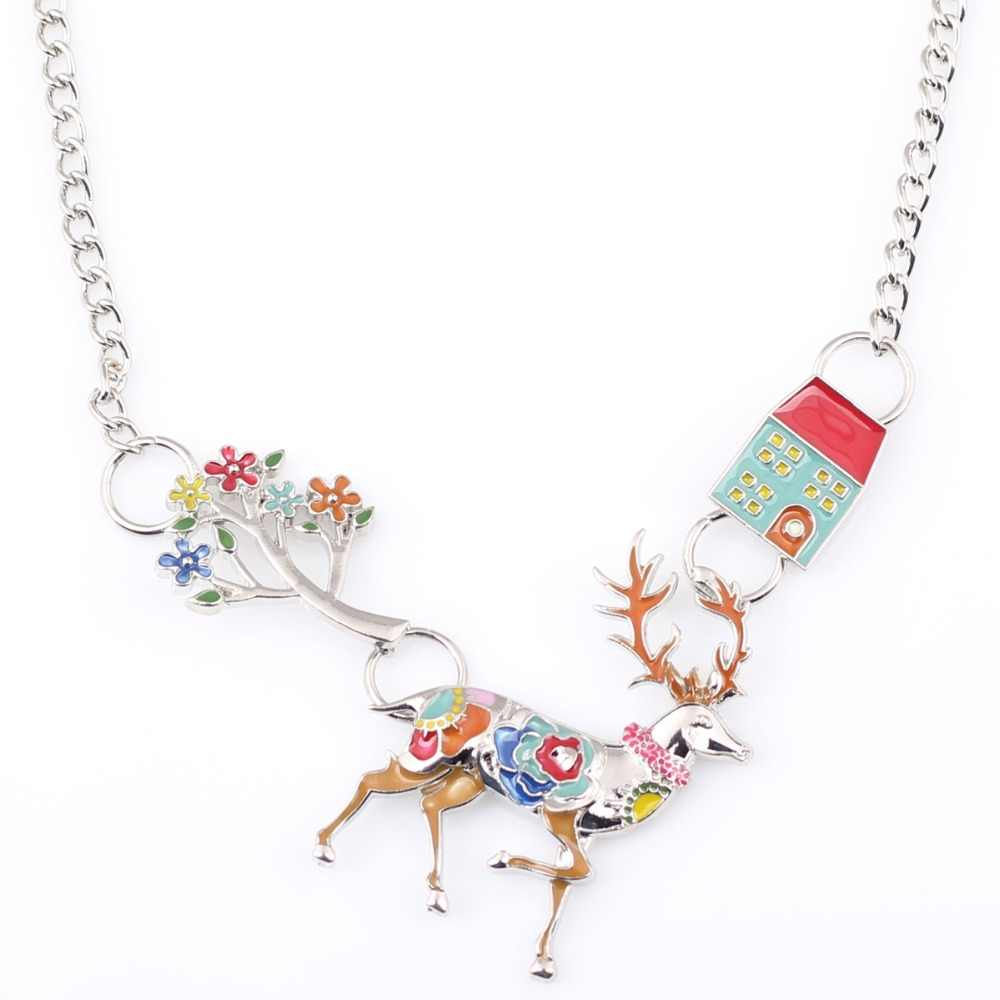 Bonsny Statement Necklace Deer  Enamel Flower Alloy Long Chain Pendants 2016 New Jewelry For Women Charm Collares Accessories