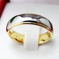 6MM Gold Tungsten Carbide Design Wedding Ring For Couple Dome Alliance Can Engraving