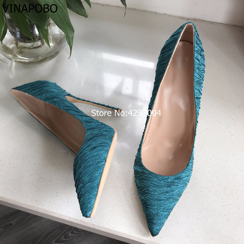 Vinapobo Luxurious Women Dark Green Silk Satin Dress Pumps Stiletto Heels Satin Fabric Banquet Party Shoes Pointed Toe Pumps-in Women's Pumps from Shoes    3