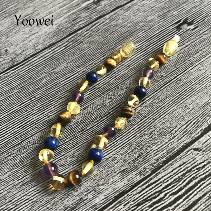 HTB1nwYhnlDH8KJjSspnq6zNAVXaQ Yoowei 9 Color Baby Amber Bracelet/Necklace Natural Amethyst Gems Adult Baby Teething Necklace Baltic Amber Jewelry Wholesale