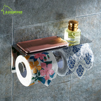 Stainless Steel Double Toilet Paper Box Wall Mounted Napkin Holder With Multifunction Rack