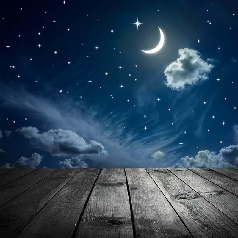 Brillante Cielo Blu Notte Star Moon Vinile Sottile Fotografia Sfondo