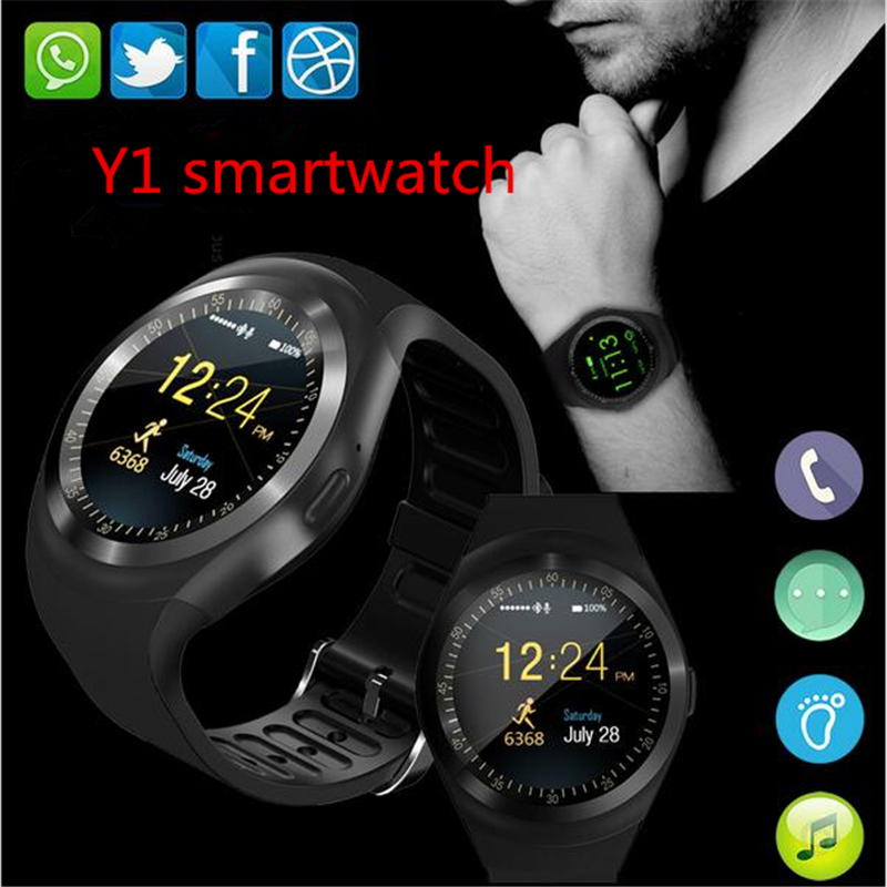 Bluetooth Smartwatch Y1 Smart Watch Support Reloj Relogios 2G GSM SIM App Sync Mp3 For Apple iPhone Xiaomi Android Phones Black meanit m5
