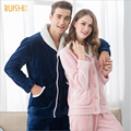 Marca inverno Casais homewear conjuntos de Pijama Casuais Homens Quentes Velevt Flanela Sleepwear terno Masculino Turn-down gola do casaco + calças