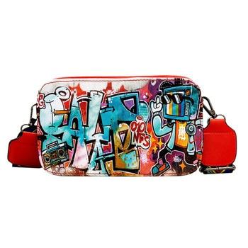 Street Graffiti Handbag Women Girl PU Messenger Bag Mini Zipper Shoulder Bag Fashion Thick Strap Women Chic Bolsa sac a main