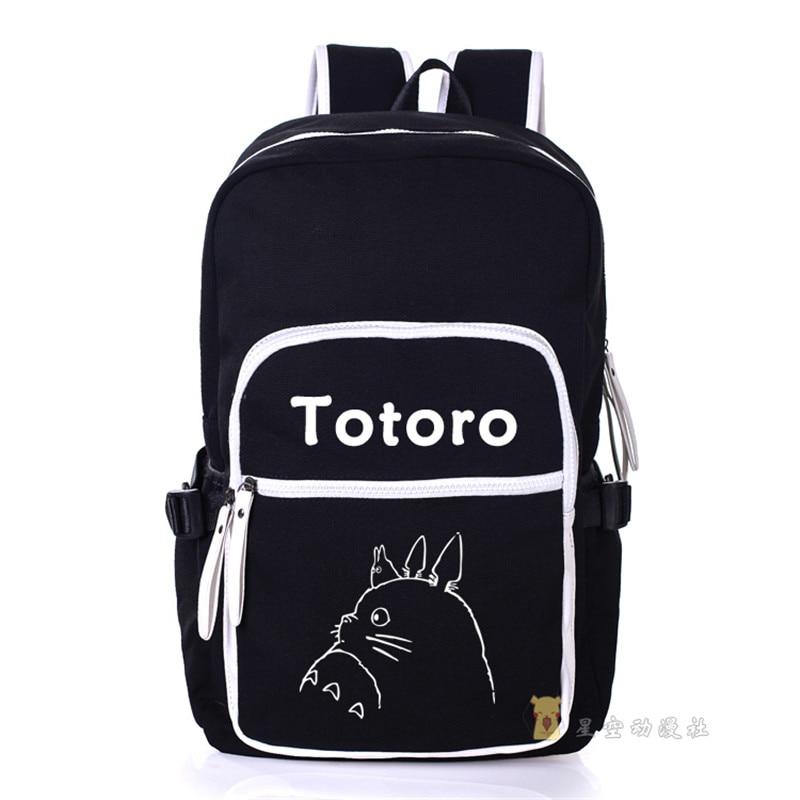 My Neighbor Totoro Canvas Shoulders Bag Students School Backpack Cartoon  Unisex Travel Laptop Bags . d5b4085ee5