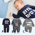 2016 Spring Autumn New Cute Animal Pattern letter Baby Rompers Boys Girls Long Jumpsuit Comfortable Cotton Clothing