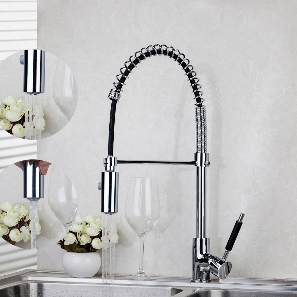8538 Deck Mounted Pull Out Chrome Finish Brass Body Polish Kitchen Mixer Tap Faucet