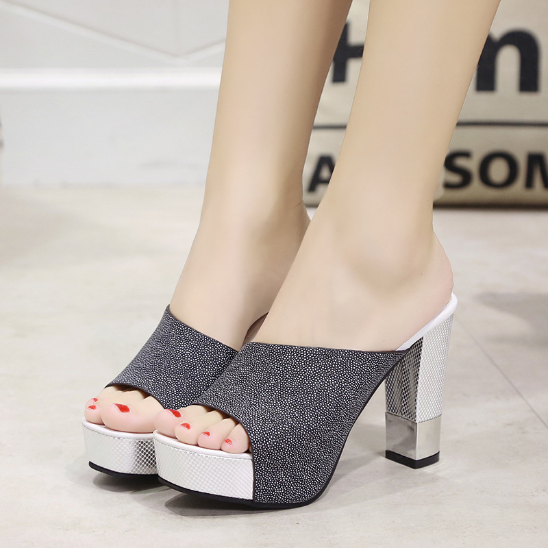 2019 Fashion Peep Toe Chunky Thick Heel Flock Mules Slippers Women's Summer Casual Comfortable Sexy Style Shoes 3093