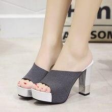 2019 moda Peep Toe grueso tacón grueso rebaño mulas zapatillas mujer  Zapatillas de verano Casual Sexy cómoda zapatos de estilo 3. bb093ac41d7f