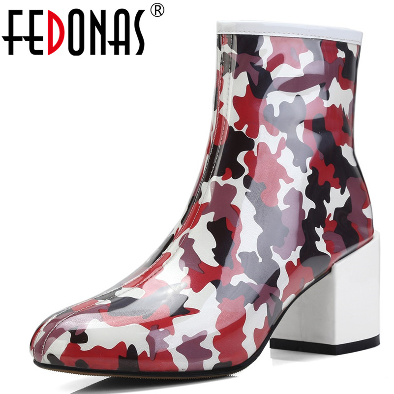 FEDONAS 1Fashion Women Ankle Boots Autumn Winter Warm High Heels Shoes Woman Round Toe Casual Quality Zipper Brand Martin Boots цена 2017