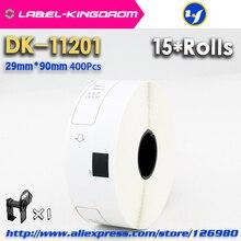 15 리필 롤 호환 DK 11201 라벨 29mm * 90mm 다이 커팅 호환 형제 라벨 프린터 백서 DK11201 DK 1201