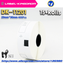 15 wkład rolki kompatybilny DK 11201 etykieta 29mm * 90mm Die Cut kompatybilny dla Brother drukarka etykiet biały papier DK11201 DK 1201