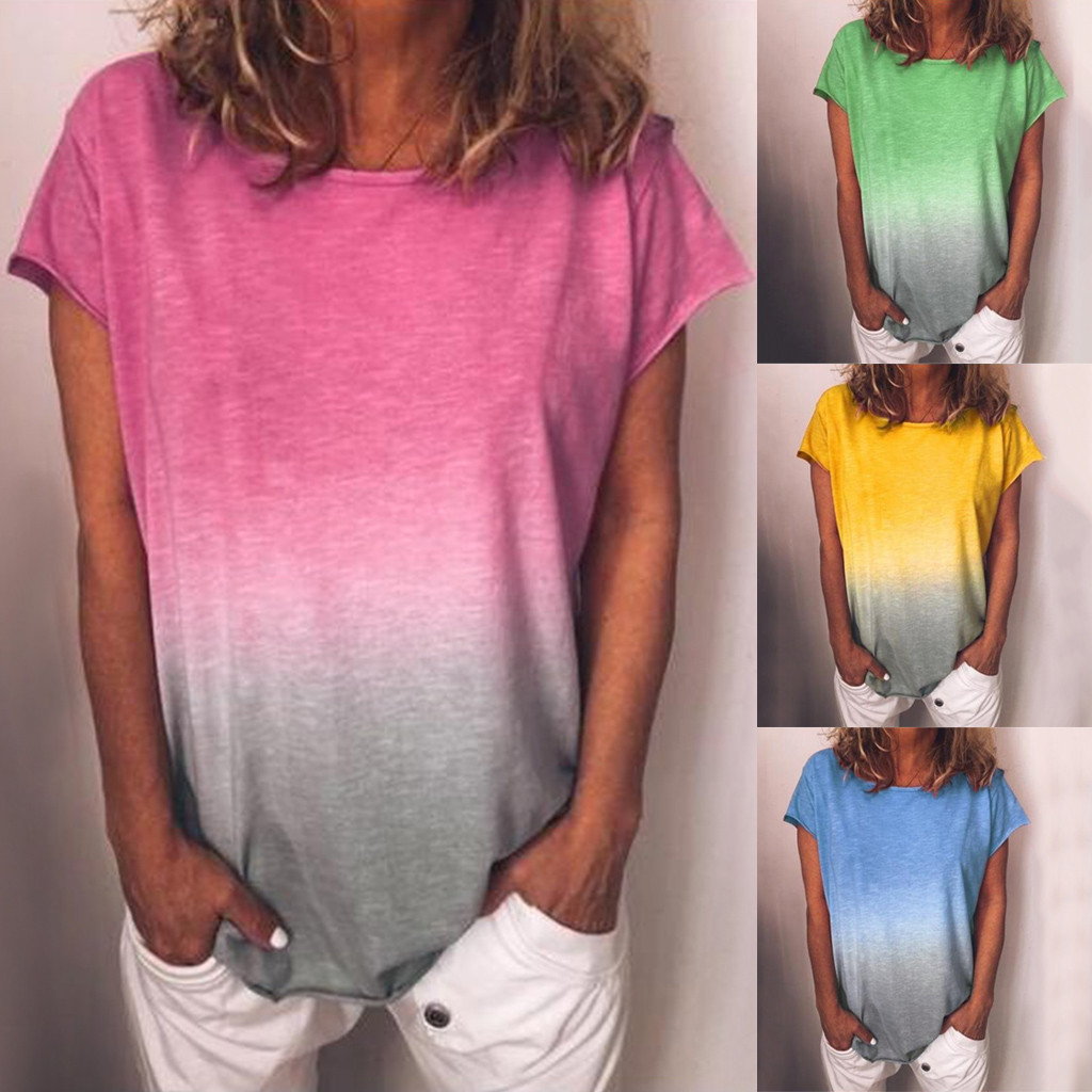 Womens Gradient Color Short Sleeved T-Shirt Casual Tunic Blouse Tops